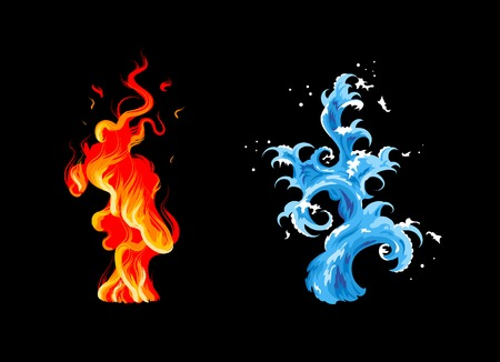 Two elements: burning flame and sea wave Illustration