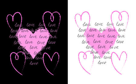 Abstract Valentine grunge hearts with text Vector