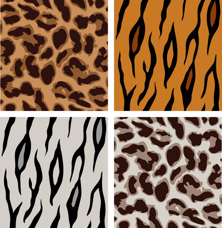 seamless leopard and tiger patterns