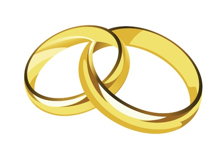 nuptials: female and male gold wedding rings Illustration