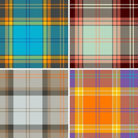 scot: Textured tartan plaid. Seamless vector pattern
