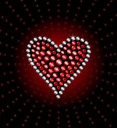 precious heart with brilliants and rubies
