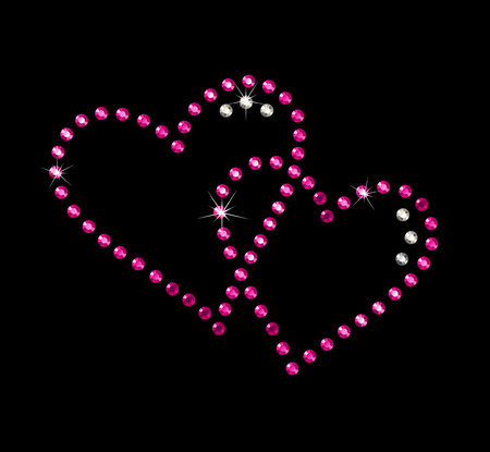precious hearts with brilliants and rubies