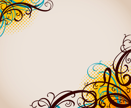 background with swirls and halftone pattern Ilustracja