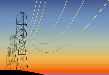 landscape with electrical line at sunset. not traced