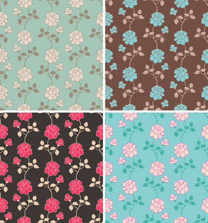 floral seamless pattern in four color palettes
