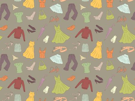 Naadloze patroon van vrouwen-kleding