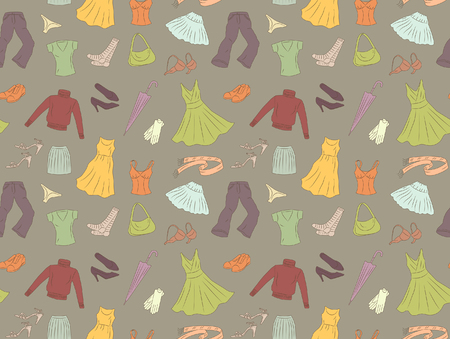Seamless pattern of women's clothes  Stock Vector - 3079720