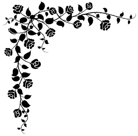 flores en esquina: viejo estilo vector floral esquina