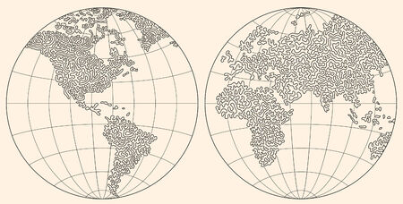consist: original hand made world map. consist of curves