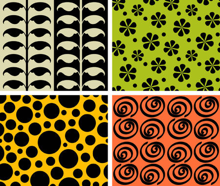 four seamless retro patterns