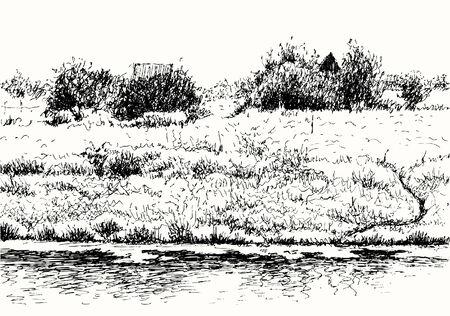 datcha: paysage rural. Trace de dessin � main lev�e