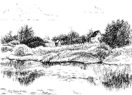 datcha: paysage rural. Trace de dessin main lev�e