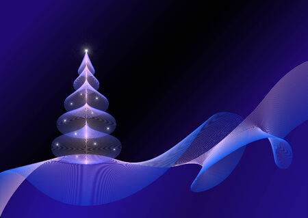 christmas tree in futuristic style. 100% vector Vector