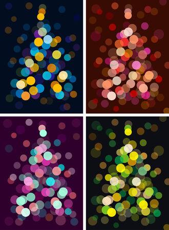 christmas tree with defocused lights. vector