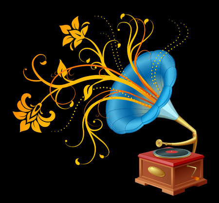 Realistic illustration of a playing gramophone with floral swirls