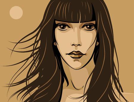 meisje met grote ogen en lange draad Stock Illustratie