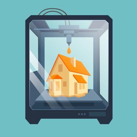 Industriële 3D printer drukt een huis-concept dossier bevat transparante objecten 10 EPS