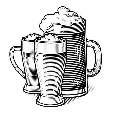 three glasses of beer - vintage engraved illustration Vector
