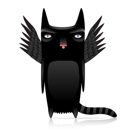 diabolical: cute inferno cat with dark wings 10 eps with gradients