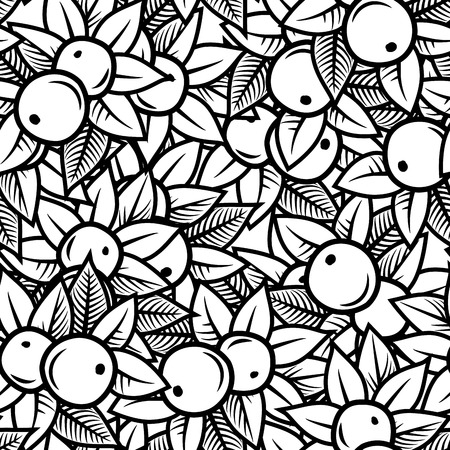 Seamless apple pattern in engraving style  Vector Vector