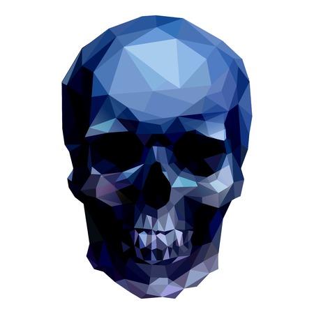 dunkle Kristallschädel auf weißem Hintergrund Illustration