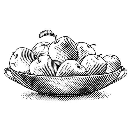 food still: Ripe apples in a dish  Engraved vector illustration Illustration