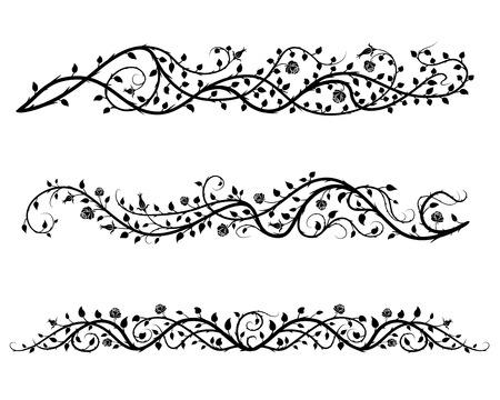 vintage calligraphic set of roses borders Illustration