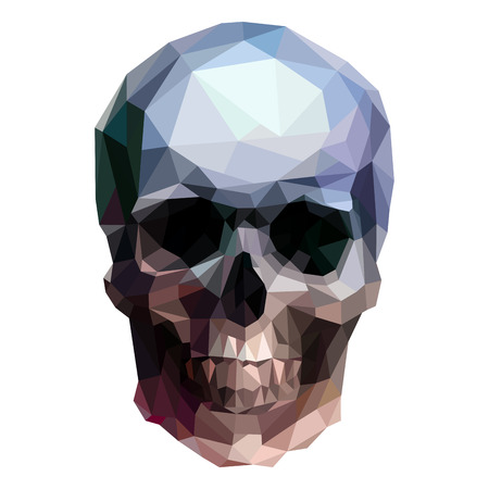 3d scary: vector crystal skull on white background