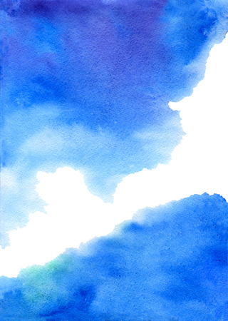 painterly effect: Abstract blue watercolor background. Hand drawn Stock Photo