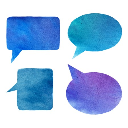 smirch: set of handmade watercolor speech bubbles Stock Photo