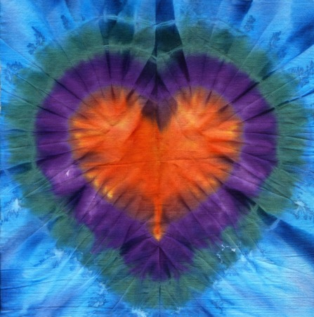 dye colors: Heart tie dye. Fabric background  Stock Photo