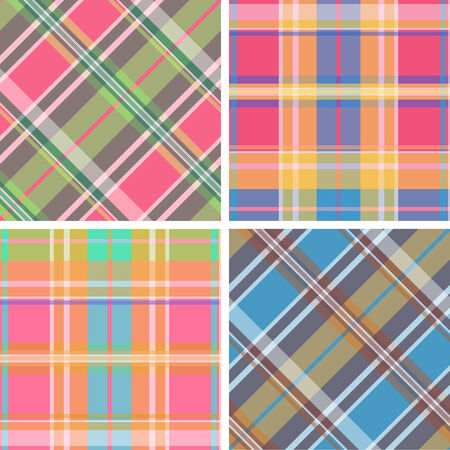 madras: Collection of seamless plaid patterns