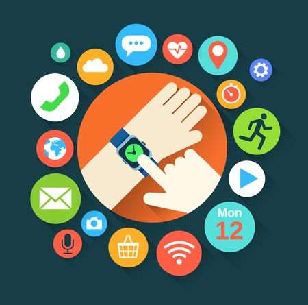 media gadget: Flat illustration of hand with smart watch and technology functions Illustration