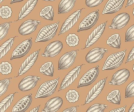 cacao: engraved pattern of leaves and fruits of cocoa beans Illustration