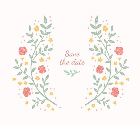 Bloemenlijst. Leuke retro bloemen gerangschikt in een vorm van de krans