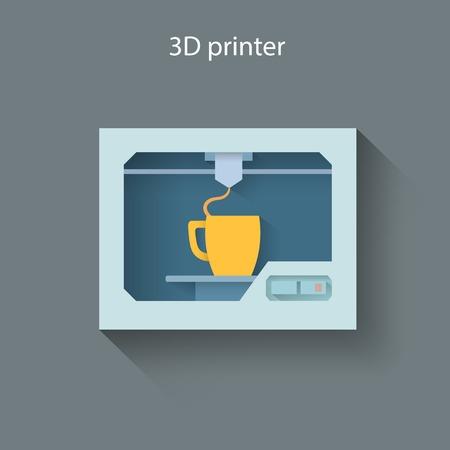 impresora: Impresora 3D Industrial imprime una taza