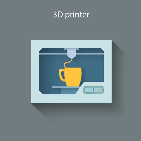 Industrial 3D printer prints a cup