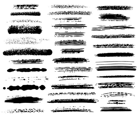 Vector set of grunge brush strokes Çizim