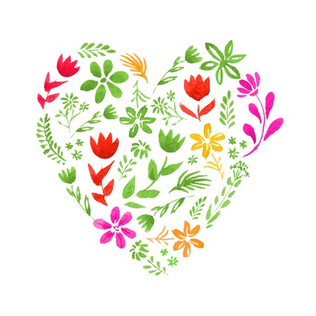 Vector heart made of watercolor flowers and Vector