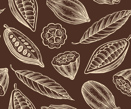 engraved pattern of leaves and fruits of cocoa beans  イラスト・ベクター素材