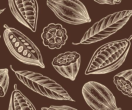 잎, 코코아 콩 과일 새겨진 패턴