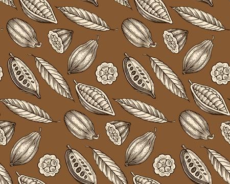 gegraveerd patroon van bladeren en vruchten van cacaobonen