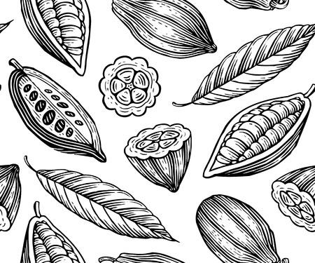 cacao: patr�n de grabado de hojas y frutos de granos de cacao