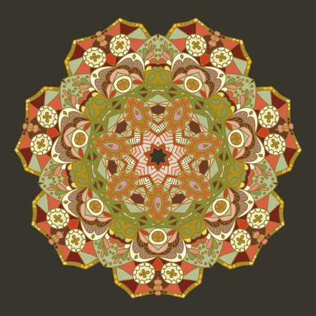 Round vector ornament Mandala. Traditional orient symbol. Vector