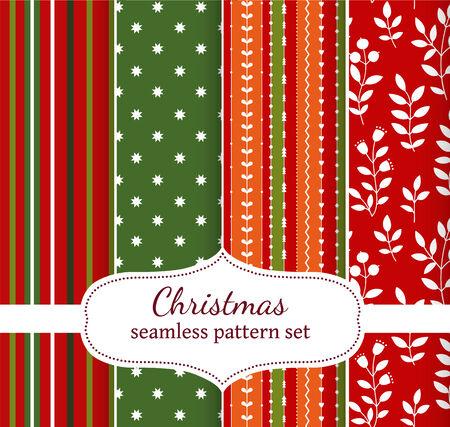 cristmas card: set of four geometric seamless patterns