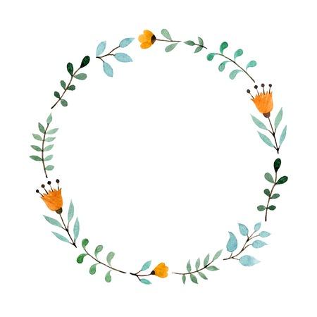 marcos redondos: Marco floral de la acuarela dibujado a mano hecho en vector