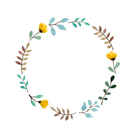 Hand-drawn watercolor floral frame made in vector  イラスト・ベクター素材