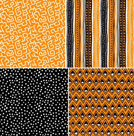 native indian: Four different vector seamless patterns on ethnic motifs