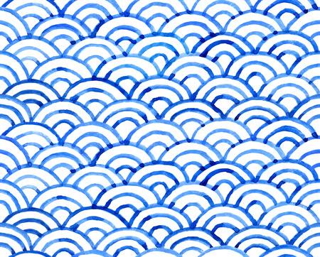 Watercolor retro fish scales texture. Vector seamless pattern. Vectores